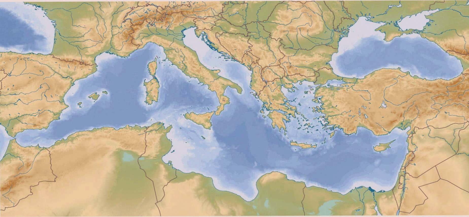 Morze Srodziemne Mapa Kraje Przybrzezne Wyspy Morze Srodziemne
