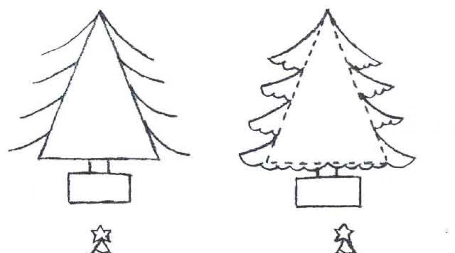 كيفية رسم شجرة عيد الميلاد بقلم رصاص على مراحل للأطفال بالخلايا
