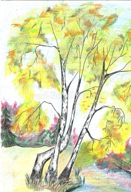 Disegna L Autunno Con Una Matita Disegno Paesaggio Autunnale