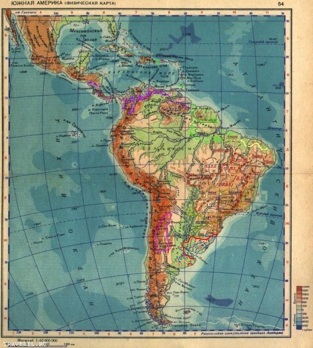 Geograficka Mapa Juznej Ameriky Zblizka Juzna Amerika
