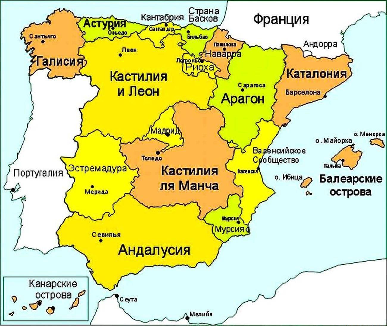 Hiszpania Miast Na Mapie Szczegolowo Wakacje W Jednym Z