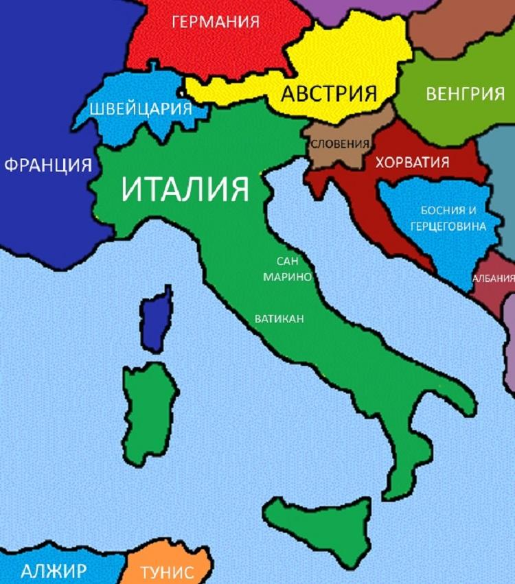 Polityczna Mapa Wloch W Jezyku Rosyjskim Wlochy Szczegolowa Mapa